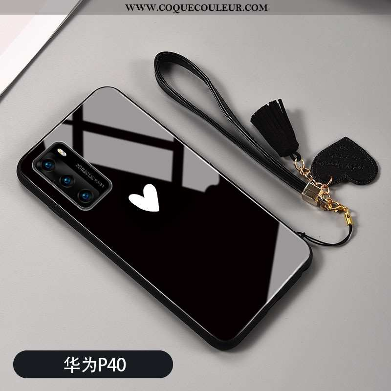 Coque Huawei P40 Protection Amour Personnalité, Housse Huawei P40 Verre Silicone Noir