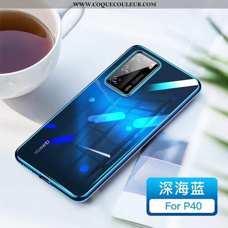 Étui Huawei P40 Créatif Tout Compris Incassable, Coque Huawei P40 Charmant Britanique Bleu
