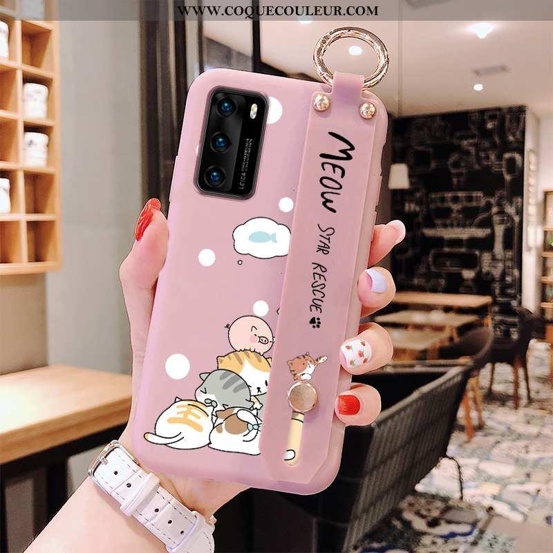 Étui Huawei P40 Silicone Rose Téléphone Portable, Coque Huawei P40 Personnalité Incassable