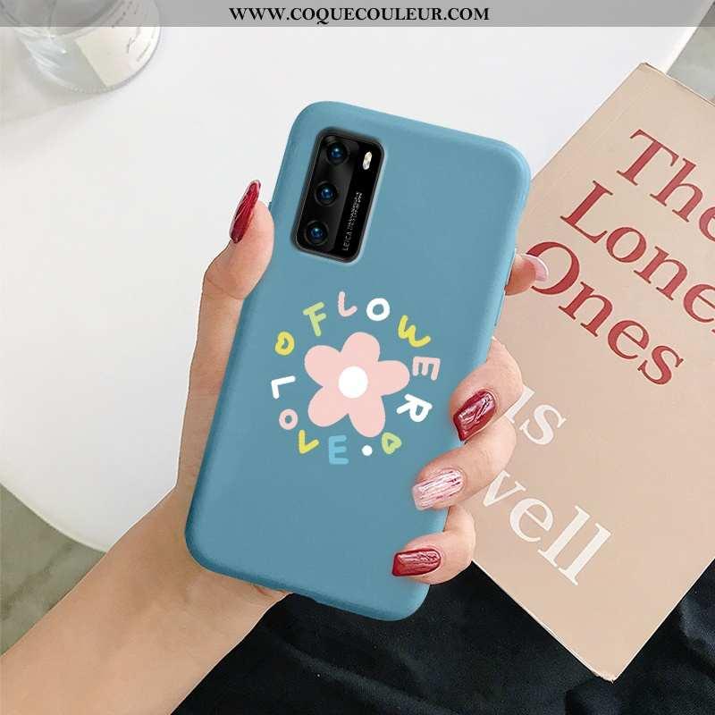 Housse Huawei P40 Fluide Doux Téléphone Portable Nouveau, Étui Huawei P40 Silicone Incassable Bleu F