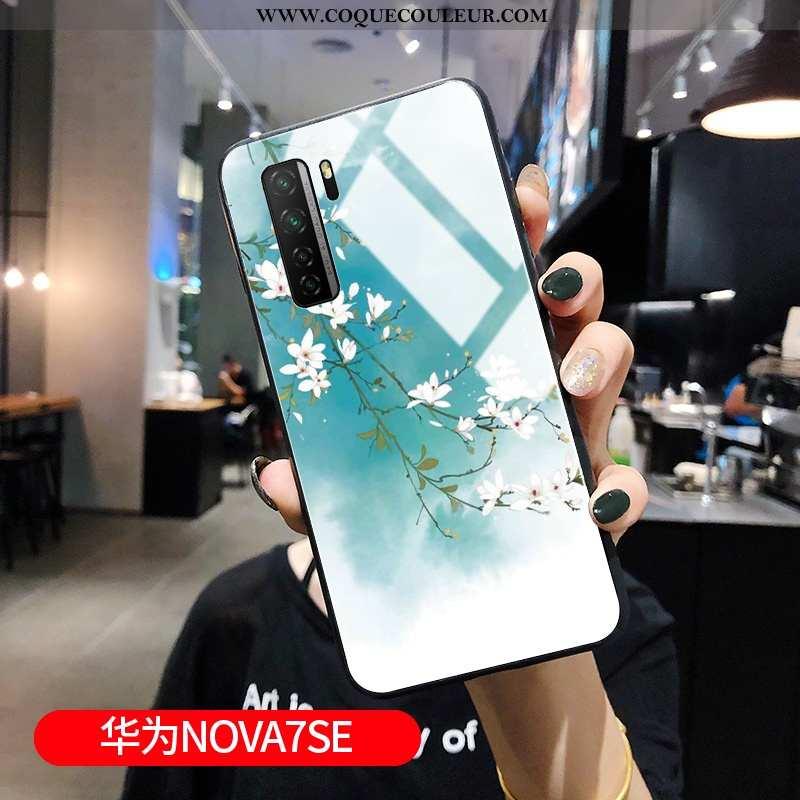 Étui Huawei P40 Lite 5g Silicone Bleu Style Chinois, Coque Huawei P40 Lite 5g Protection Verre