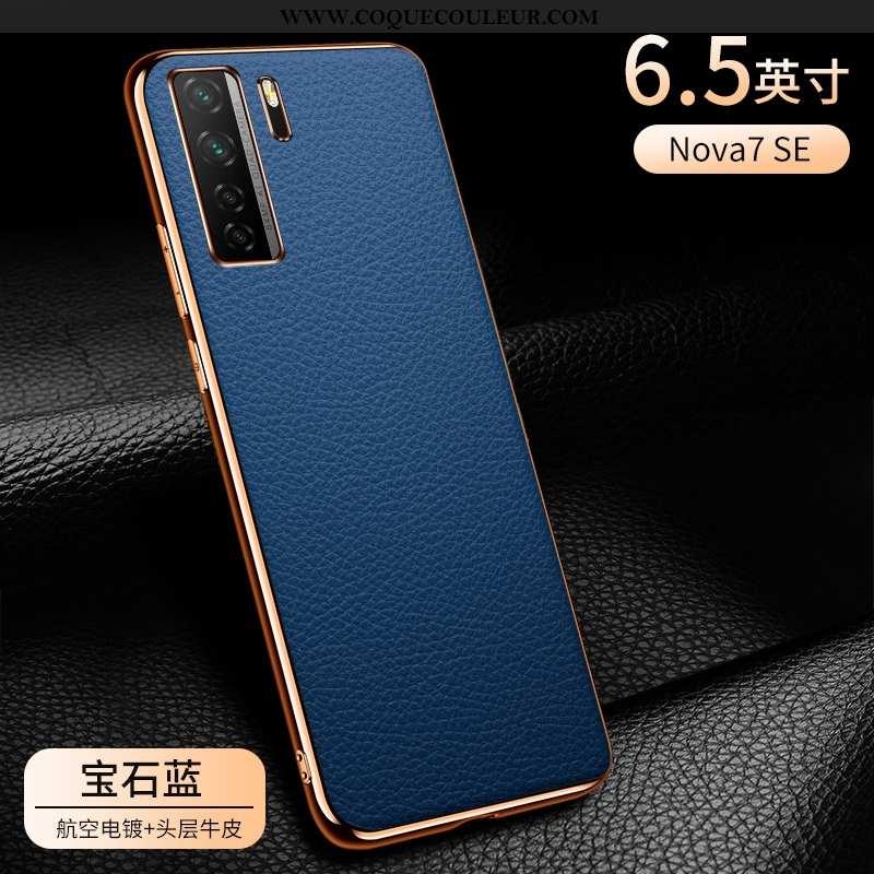 Étui Huawei P40 Lite 5g Cuir Business Bleu, Coque Huawei P40 Lite 5g Protection Bovins Bleu