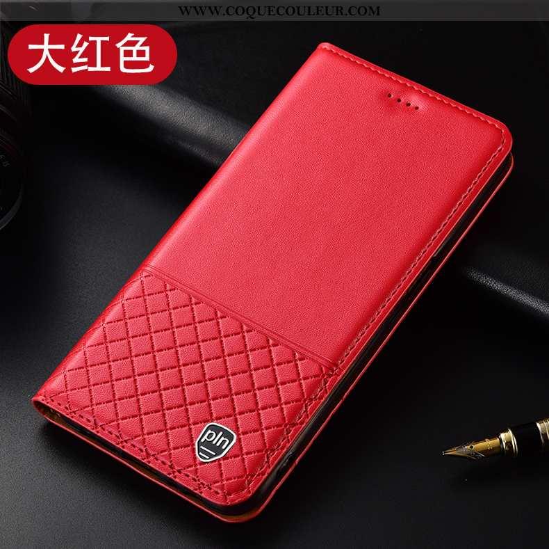 Étui Huawei P40 Lite E Protection Téléphone Portable, Coque Huawei P40 Lite E Cuir Véritable Rouge