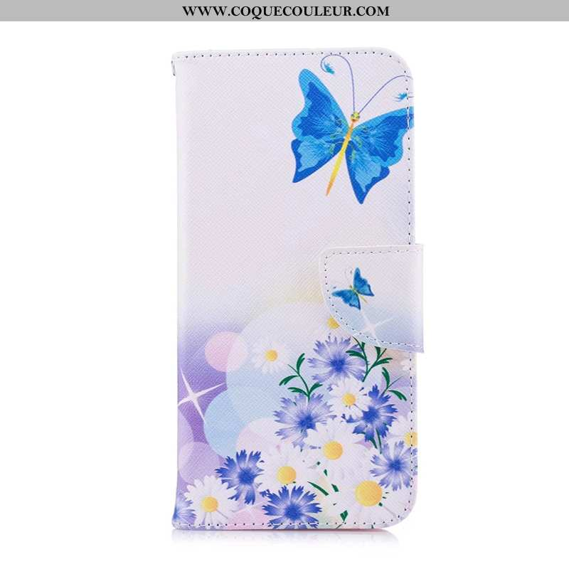 Étui Huawei P40 Lite E Cuir Housse Peinture, Coque Huawei P40 Lite E Protection Bleu