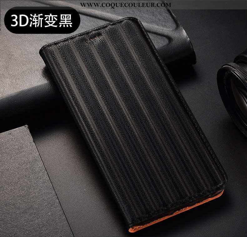 Étui Huawei P40 Lite E Cuir Véritable Dégradé Protection, Coque Huawei P40 Lite E Modèle Fleurie Noi
