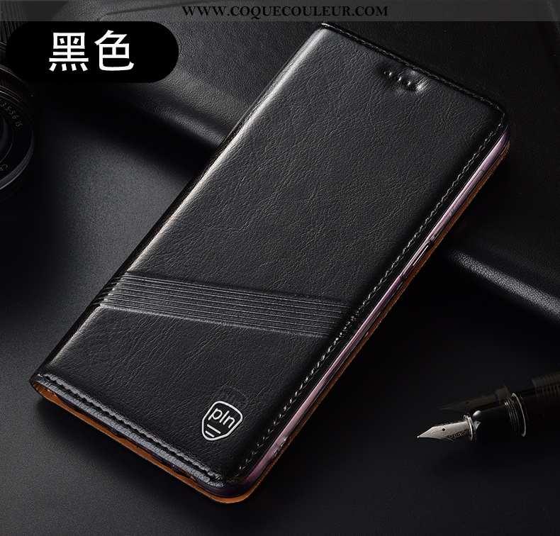 Coque Huawei P40 Lite E Cuir Véritable Tout Compris Noir, Housse Huawei P40 Lite E Modèle Fleurie In