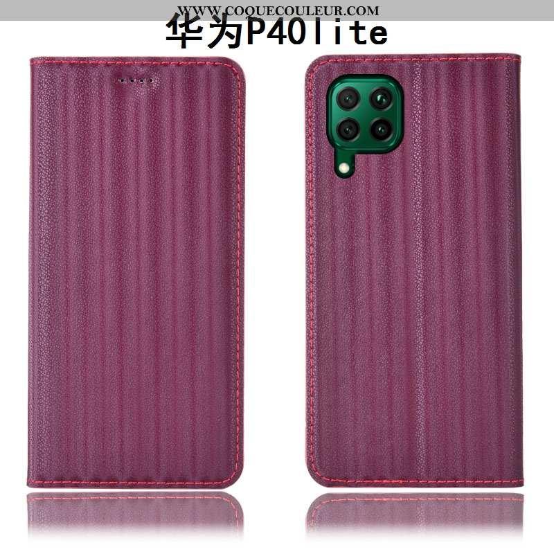 Housse Huawei P40 Lite Protection Vin Rouge Tout Compris, Étui Huawei P40 Lite Cuir Véritable Bordea