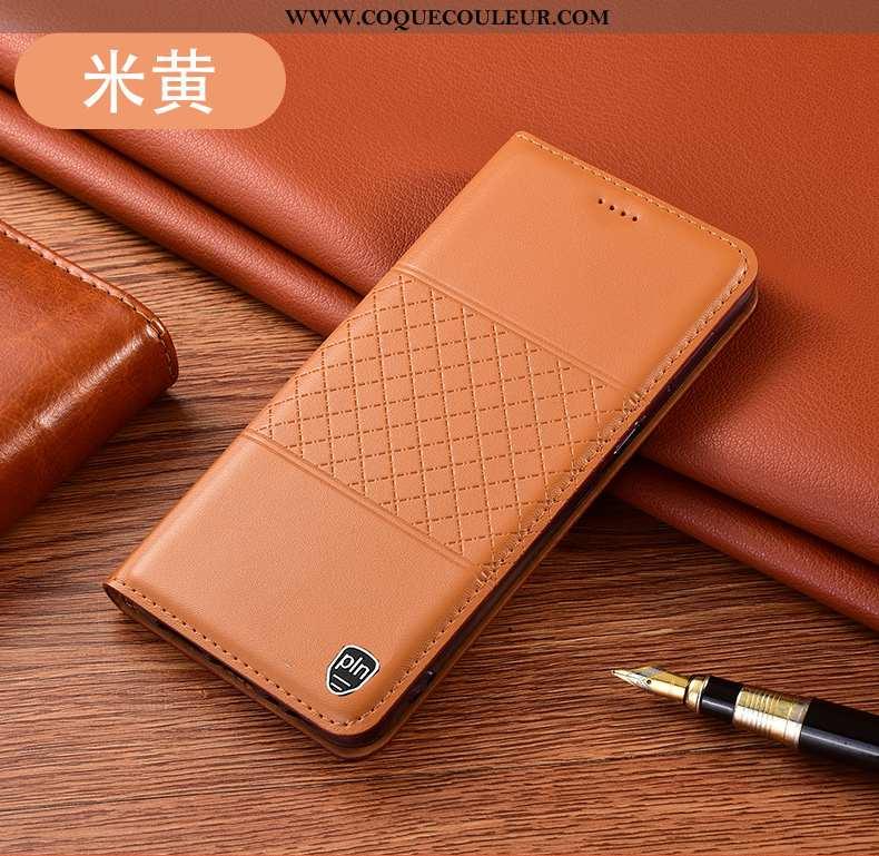 Étui Huawei P40 Lite Protection Housse, Coque Huawei P40 Lite Cuir Véritable Tout Compris Jaune