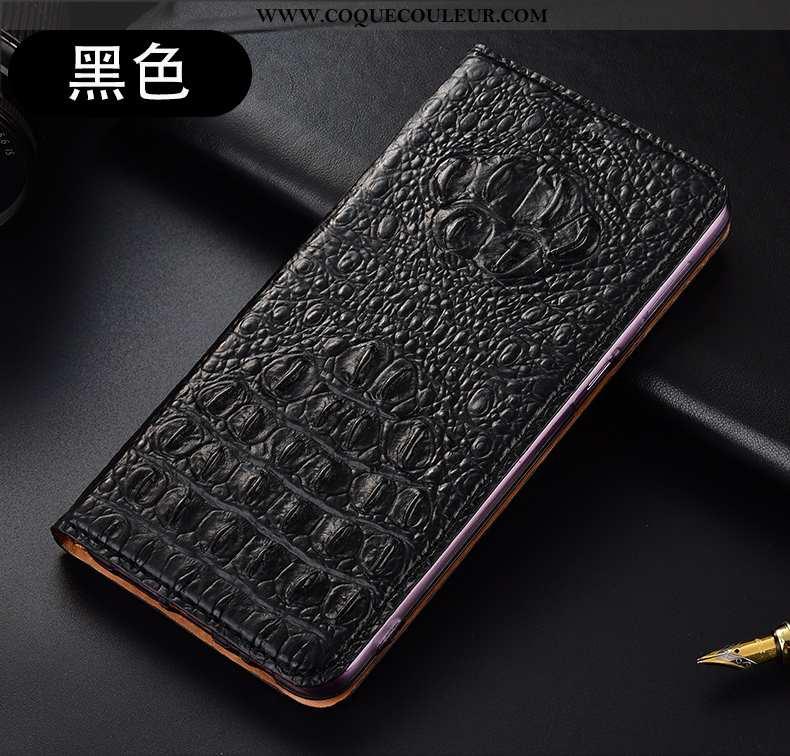 Housse Huawei P40 Lite Protection Téléphone Portable, Étui Huawei P40 Lite Cuir Véritable Noir