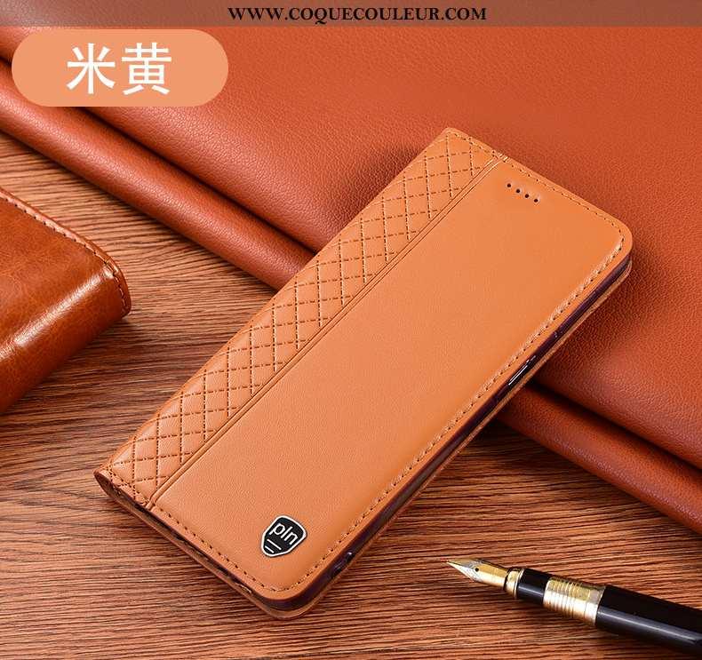 Housse Huawei P40 Lite Cuir Véritable Tout Compris Jaune, Étui Huawei P40 Lite Protection Téléphone