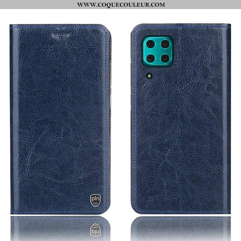 Housse Huawei P40 Lite Protection Étui Housse, Huawei P40 Lite Cuir Véritable Coque Bleu Foncé