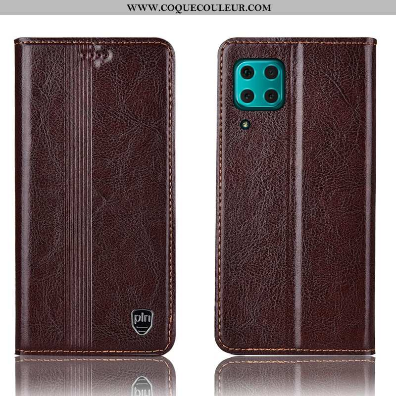 Housse Huawei P40 Lite Protection Coque, Étui Huawei P40 Lite Cuir Véritable Téléphone Portable Marr