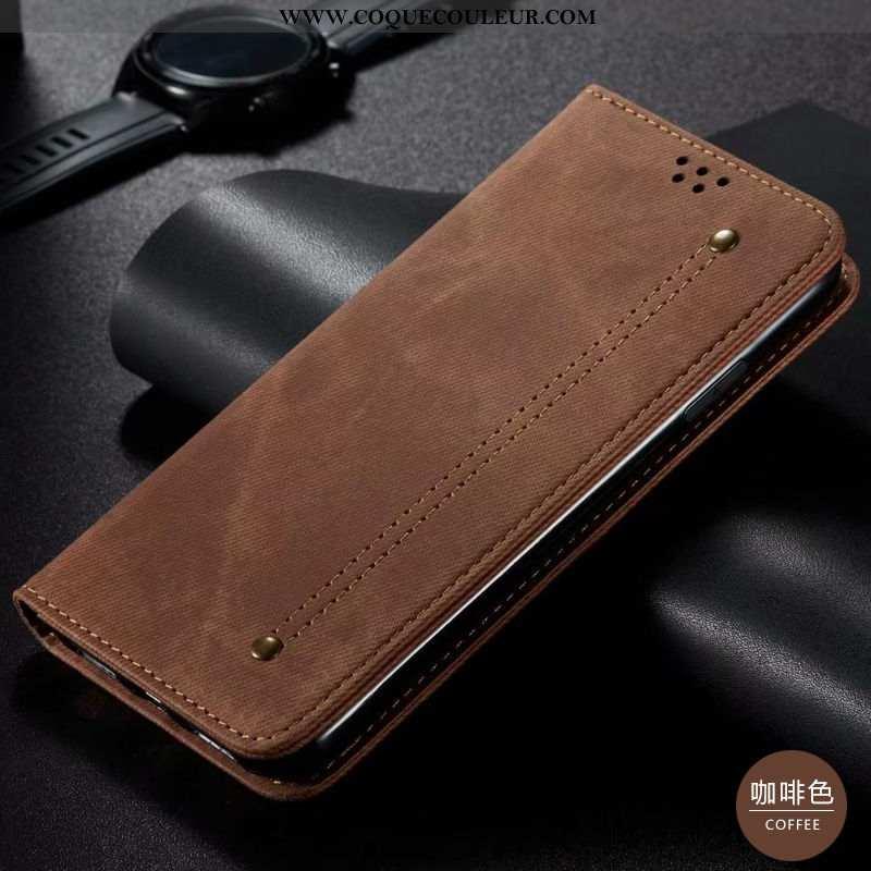 Housse Huawei P40 Lite Cuir Téléphone Portable Mode, Étui Huawei P40 Lite Modèle Fleurie Denim Marro