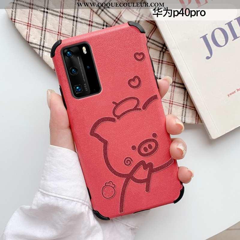 Coque Huawei P40 Pro Tendance Étui Dessin Animé, Housse Huawei P40 Pro Cuir Créatif Rouge