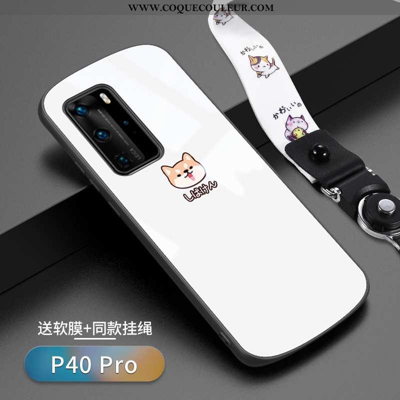 Housse Huawei P40 Pro Verre Téléphone Portable Ultra, Étui Huawei P40 Pro Personnalité Créatif Blanc