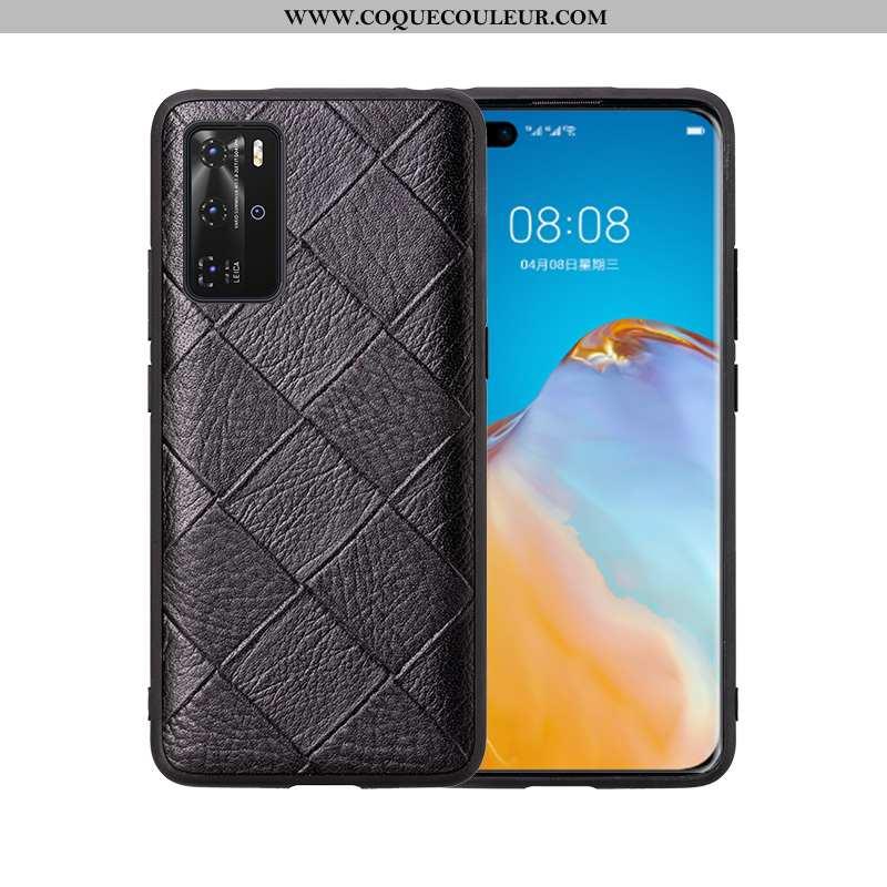 Coque Huawei P40 Pro Créatif Tout Compris Tendance, Housse Huawei P40 Pro Cuir Véritable Simple Noir