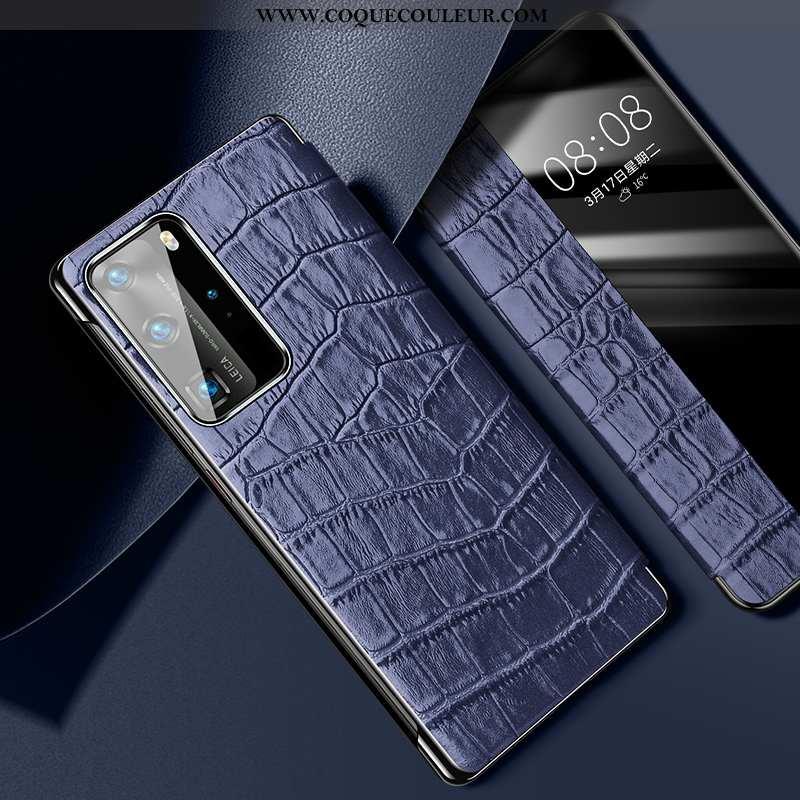 Housse Huawei P40 Pro Légère Incassable Ultra, Étui Huawei P40 Pro Cuir Accessoires Bleu Foncé