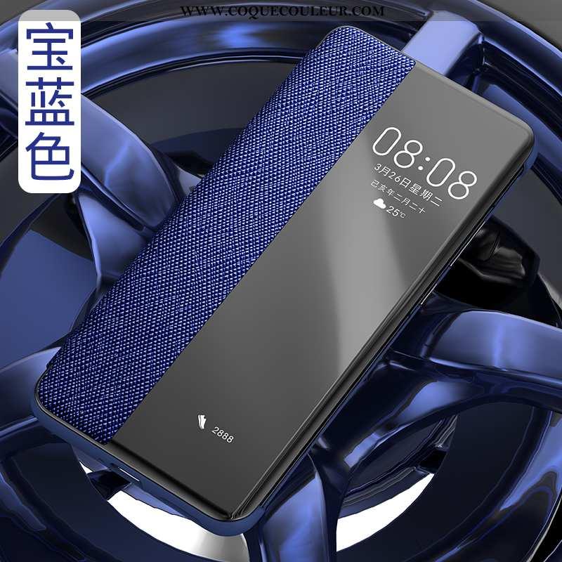 Étui Huawei P40 Pro Cuir Véritable Bleu Marin Clamshell, Coque Huawei P40 Pro Cuir Tout Compris Bleu