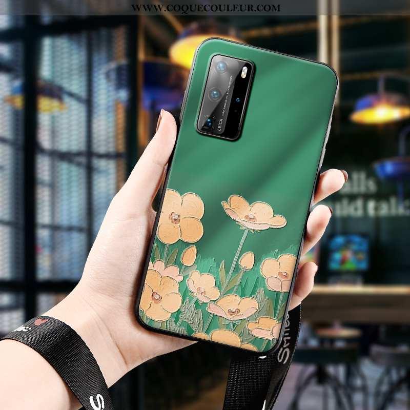 Étui Huawei P40 Pro Silicone Téléphone Portable Ultra, Coque Huawei P40 Pro Protection Légère Verte