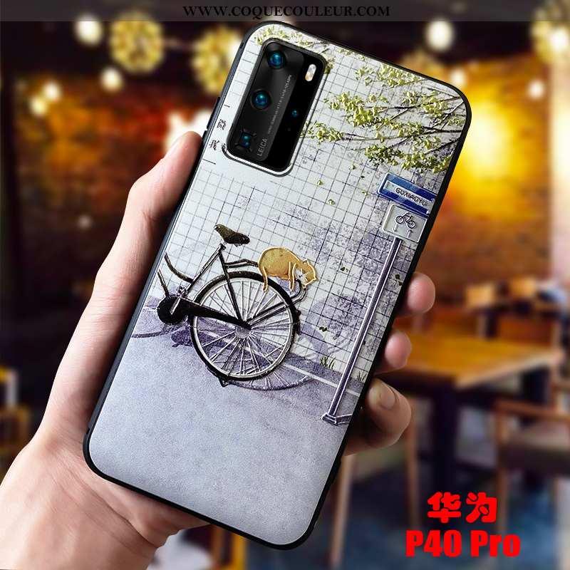 Coque Huawei P40 Pro Personnalité Antidérapant Dimensionnel, Housse Huawei P40 Pro Créatif Violet