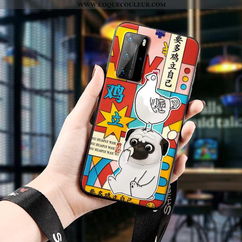 Étui Huawei P40 Pro Fluide Doux Rouge Ornements Suspendus, Coque Huawei P40 Pro Silicone Téléphone P
