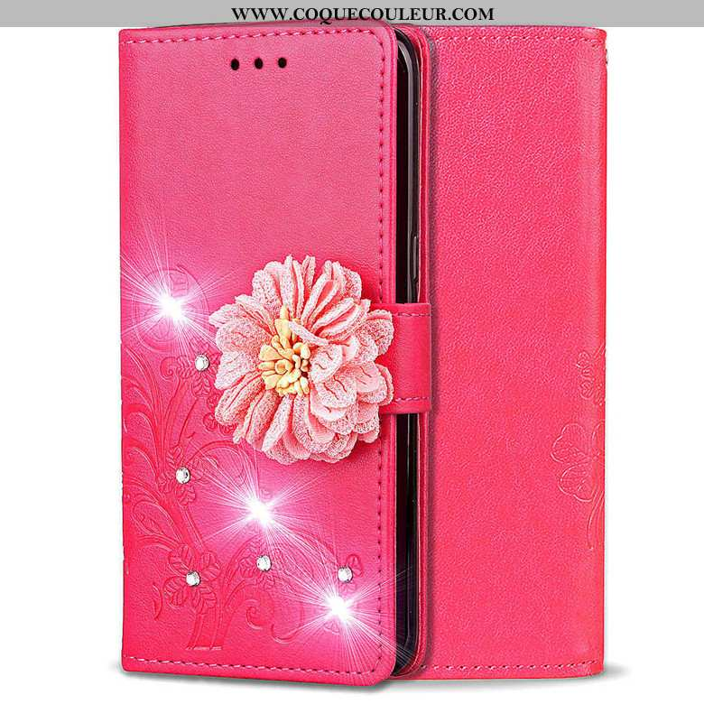 Coque Huawei Y5 2020 Protection Étui 2020, Housse Huawei Y5 2020 Cuir Rouge Rose
