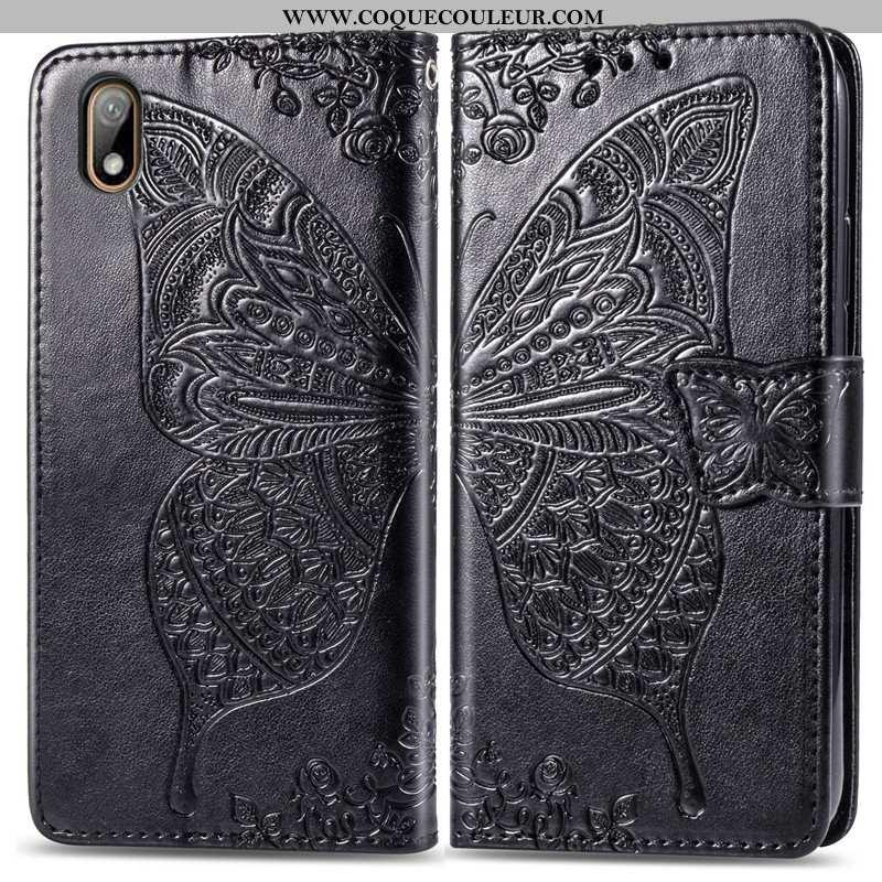 Étui Huawei Y5 2020 Ornements Suspendus Fleur Housse, Coque Huawei Y5 2020 Gaufrage Charmant Noir