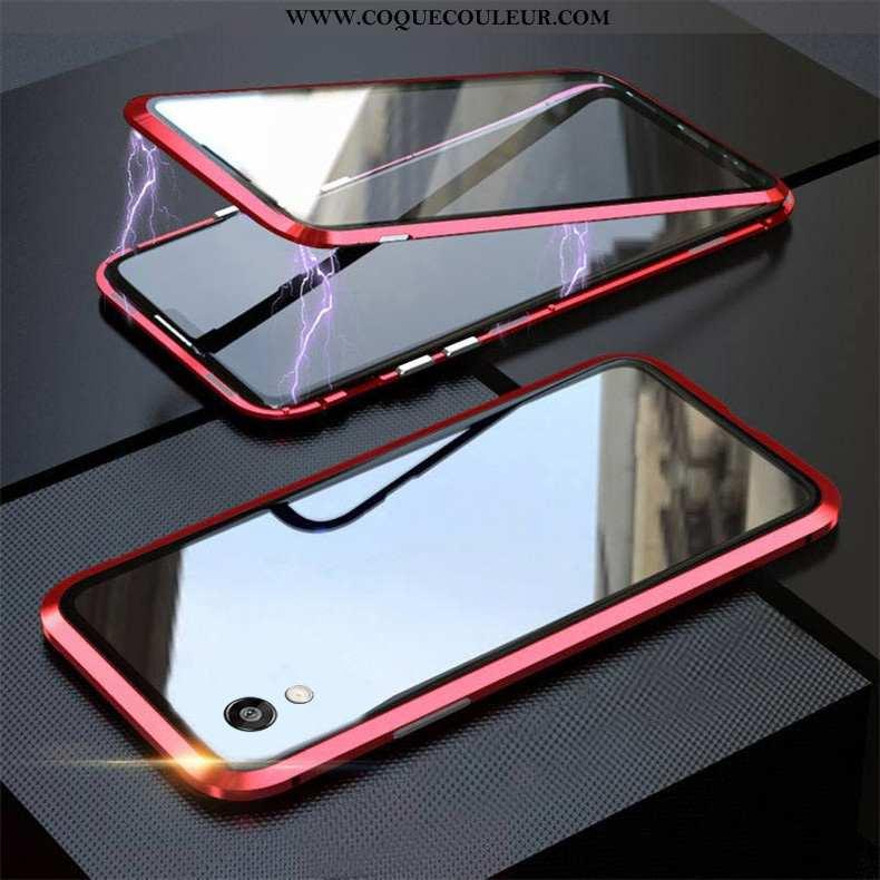 Housse Huawei Y5 2020 Verre Magnétisme Reversible, Étui Huawei Y5 2020 Personnalité Coque Rouge