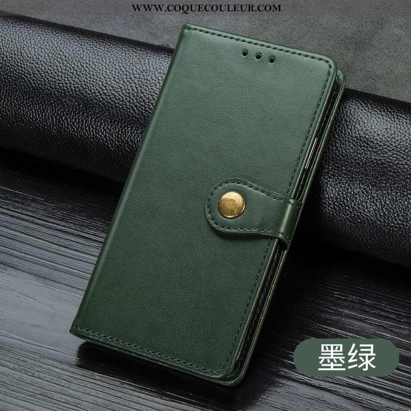 Étui Huawei Y5 2020 Cuir Business Incassable, Coque Huawei Y5 2020 Portefeuille Armée Verte