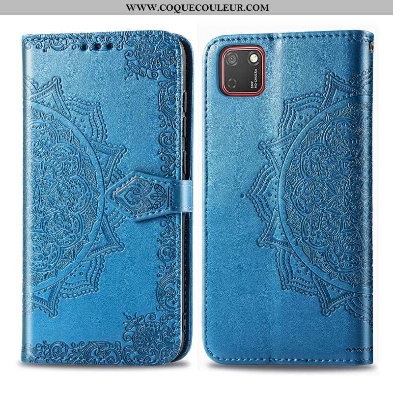 Étui Huawei Y5p Cuir Clamshell, Coque Huawei Y5p Gaufrage Bleu