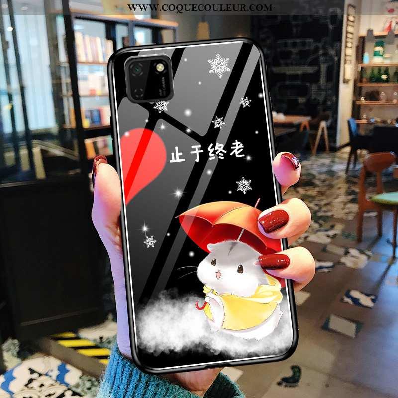 Étui Huawei Y5p Dessin Animé Peinture Mode, Coque Huawei Y5p Tendance Verre Noir