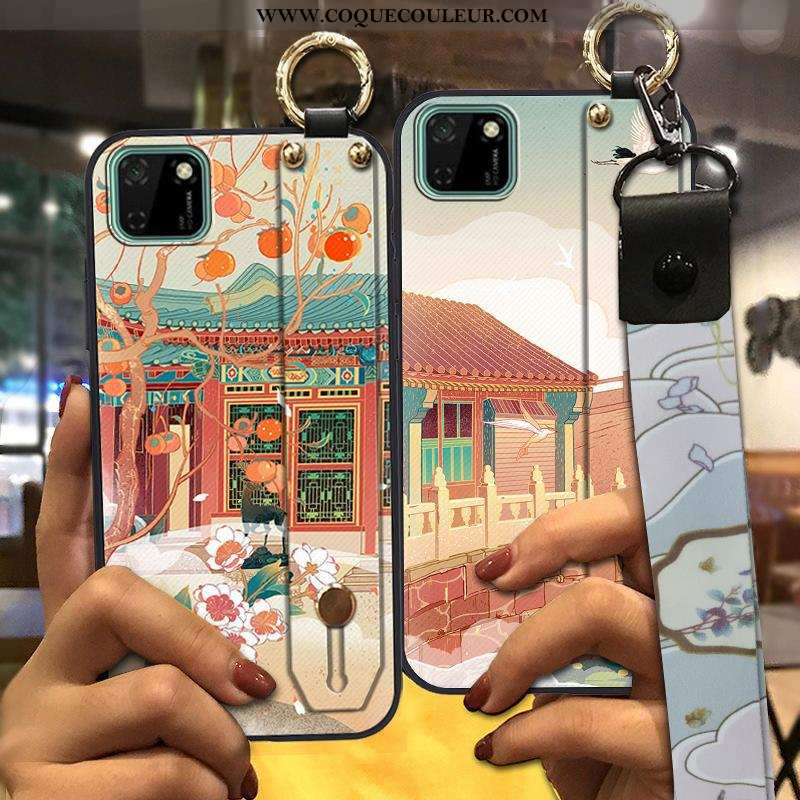 Coque Huawei Y5p Tendance Support Style Chinois, Housse Huawei Y5p Créatif Étui Verte
