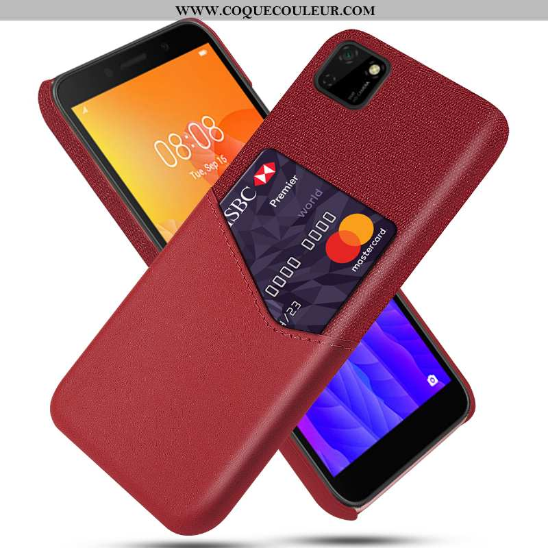 Coque Huawei Y5p Cuir Carte Coque, Housse Huawei Y5p Protection Rouge