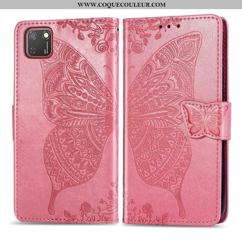 Housse Huawei Y5p Protection Rose Gaufrage, Étui Huawei Y5p Ornements Suspendus Téléphone Portable