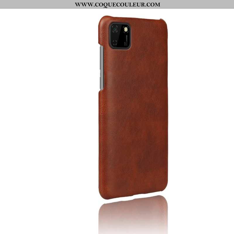 Étui Huawei Y5p Cuir Téléphone Portable Étui, Coque Huawei Y5p Protection Difficile Marron