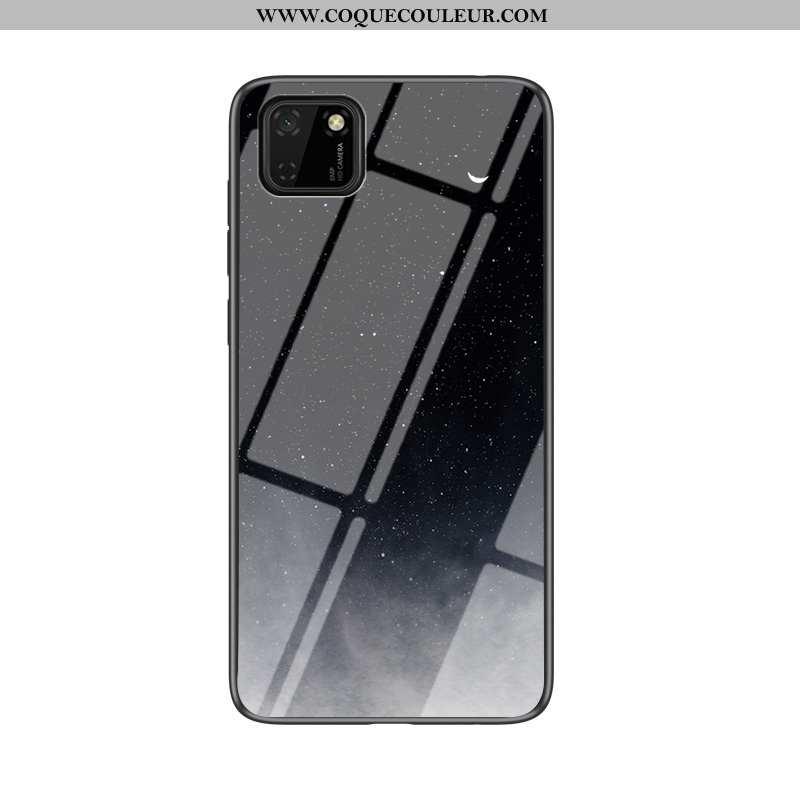 Étui Huawei Y5p Protection Dégradé Ciel Étoilé, Coque Huawei Y5p Verre Tout Compris Noir