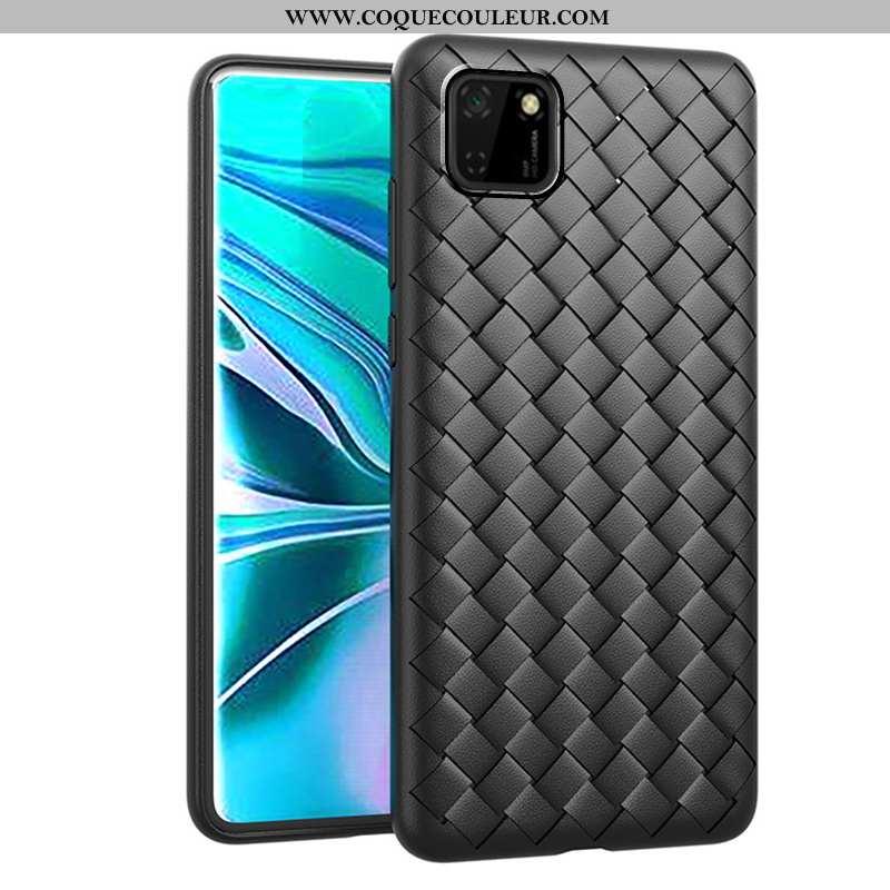 Étui Huawei Y5p Modèle Fleurie Tissage Protection, Coque Huawei Y5p Mode Incassable Noir