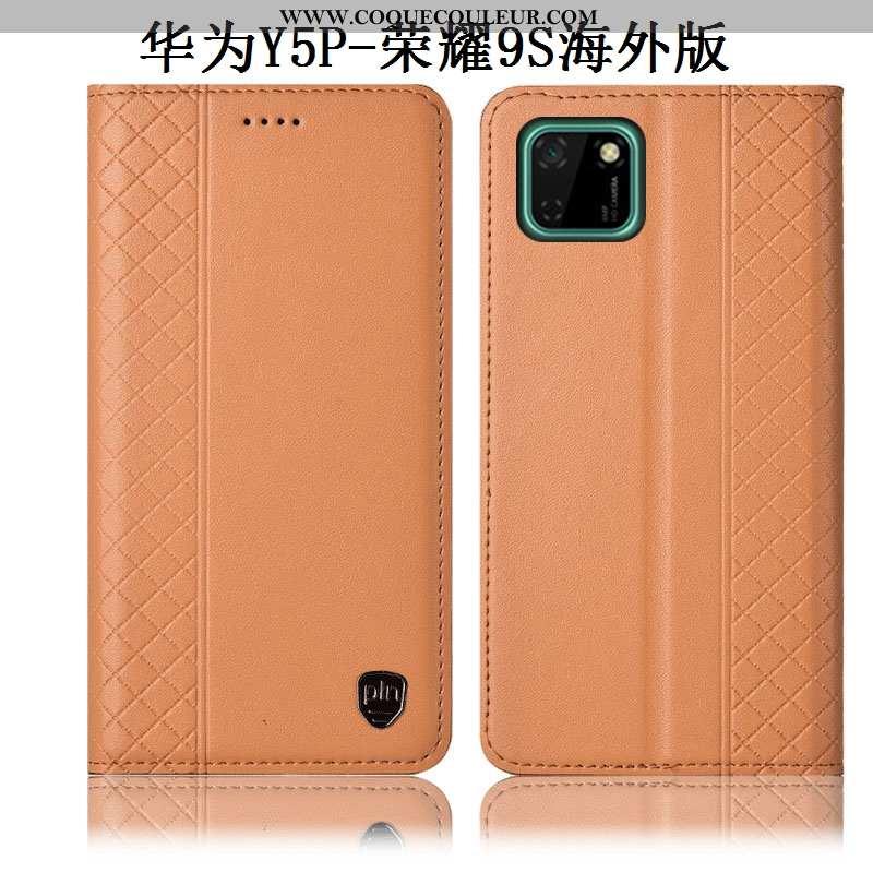 Coque Huawei Y5p Protection Incassable Jaune, Housse Huawei Y5p Cuir Véritable Jaune