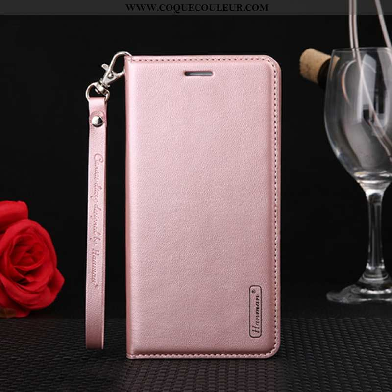 Housse Huawei Y5p Protection Cuir Coque, Étui Huawei Y5p Cuir Véritable Rose