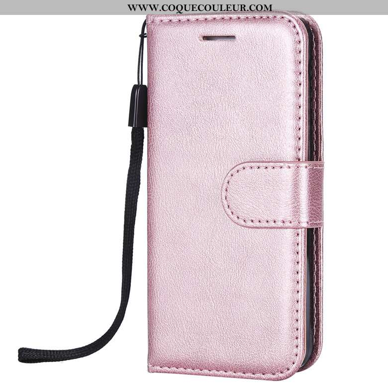 Coque Huawei Y6 2020 Cuir Protection Étui, Housse Huawei Y6 2020 Fluide Doux Clamshell Rose