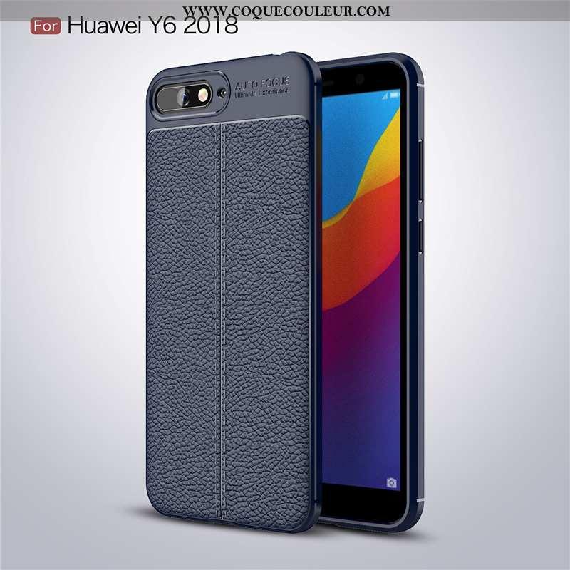 Housse Huawei Y6 2020 Silicone Tendance Cuir, Étui Huawei Y6 2020 Protection Bleu Marin Bleu Foncé