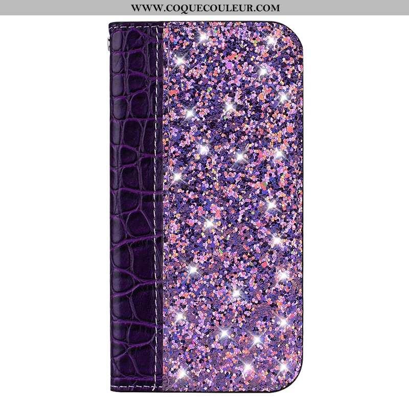 Housse Huawei Y6 2020 Cuir Coque Crocodile, Étui Huawei Y6 2020 Modèle Fleurie Violet