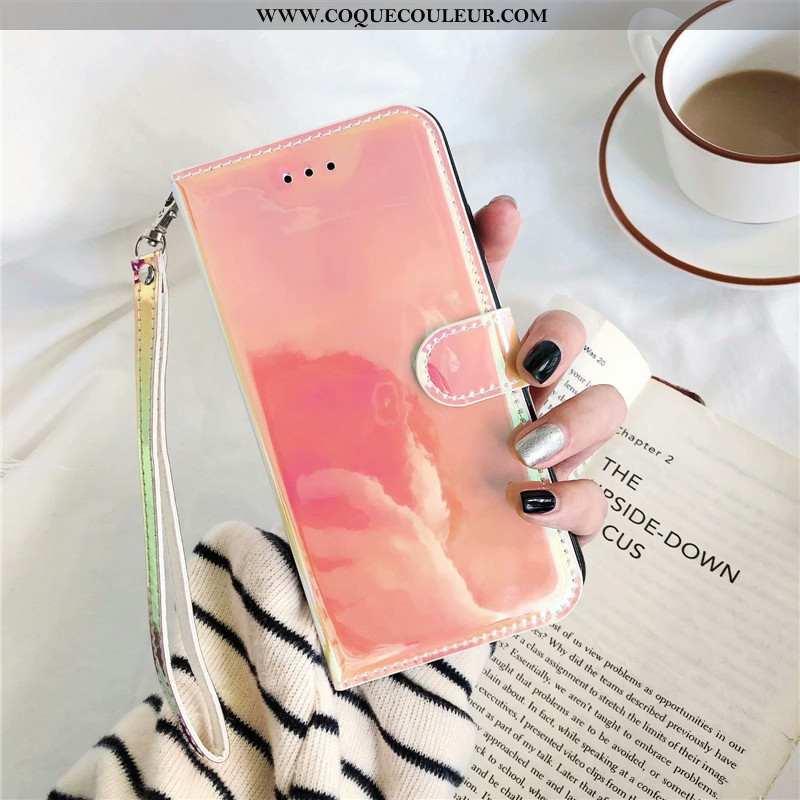 Coque Huawei Y6 2020 Fluide Doux Rose Téléphone Portable, Housse Huawei Y6 2020 Cuir Coloré