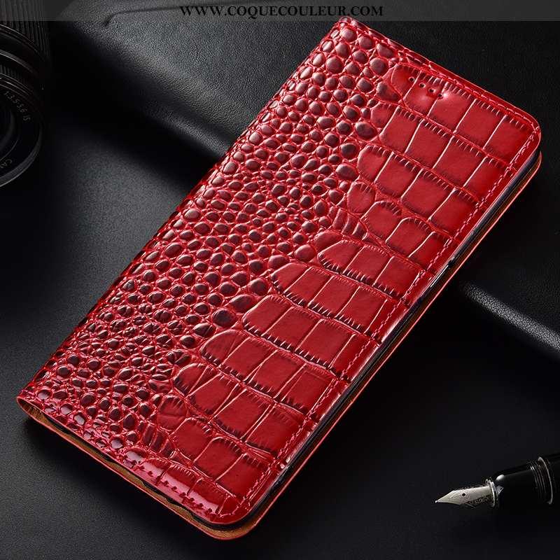 Étui Huawei Y6 2020 Cuir Téléphone Portable, Coque Huawei Y6 2020 Modèle Fleurie Clamshell Rouge