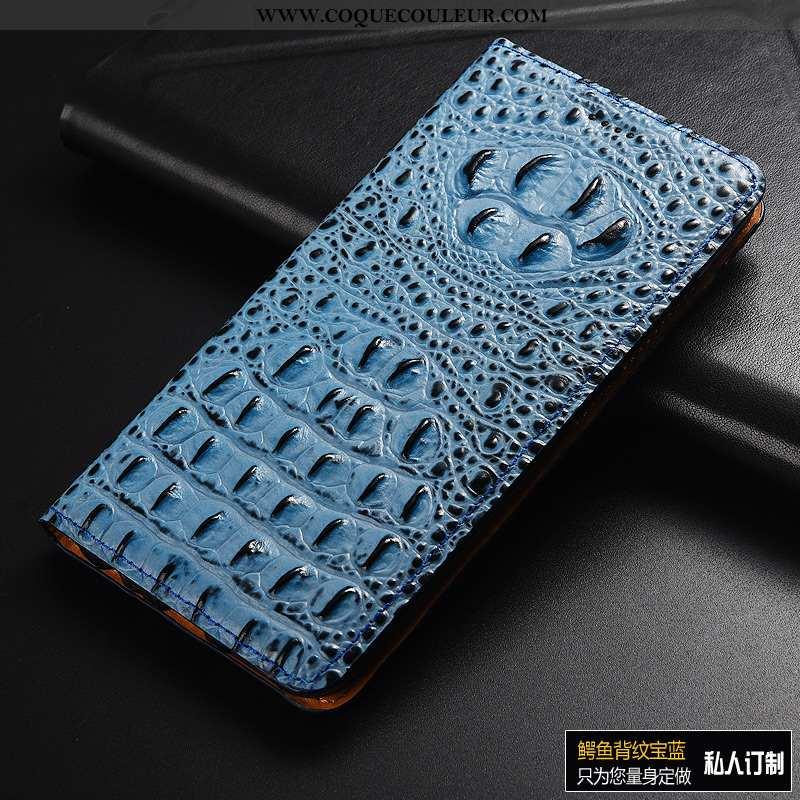 Coque Huawei Y6 2020 Cuir Téléphone Portable Bleu, Housse Huawei Y6 2020 Modèle Fleurie Protection V