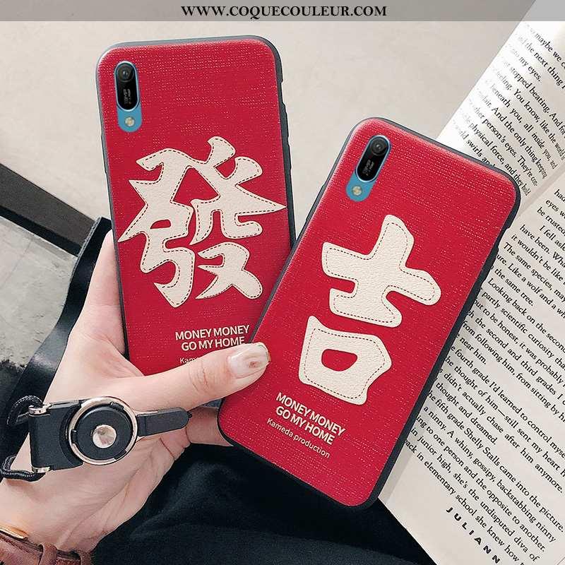 Étui Huawei Y6 2020 Silicone Coque Rouge, Huawei Y6 2020 Gaufrage Rouge