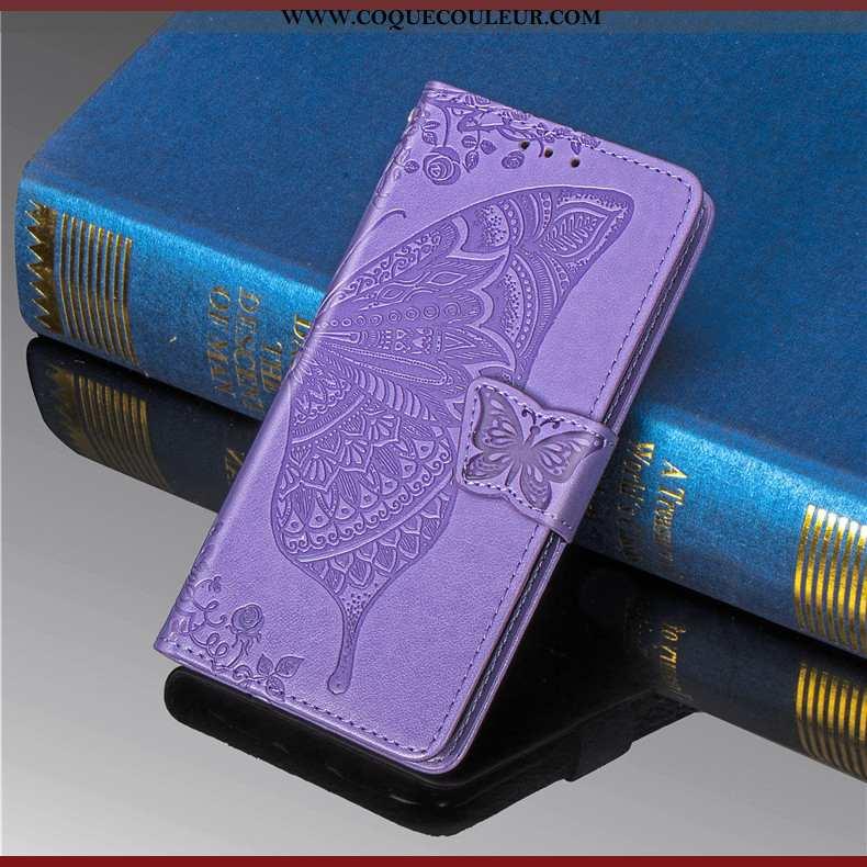 Étui Huawei Y6 2020 Charmant Fleur Violet, Coque Huawei Y6 2020 Cuir Violet