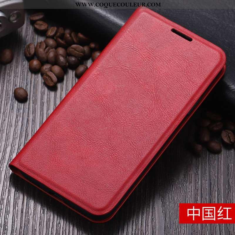 Coque Huawei Y6 2020 Protection Téléphone Portable Étui, Housse Huawei Y6 2020 Cuir Incassable Rouge
