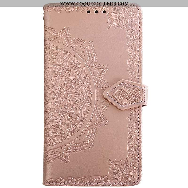 Coque Huawei Y6 2020 Portefeuille Carte Étui, Housse Huawei Y6 2020 Cuir Téléphone Portable Rose