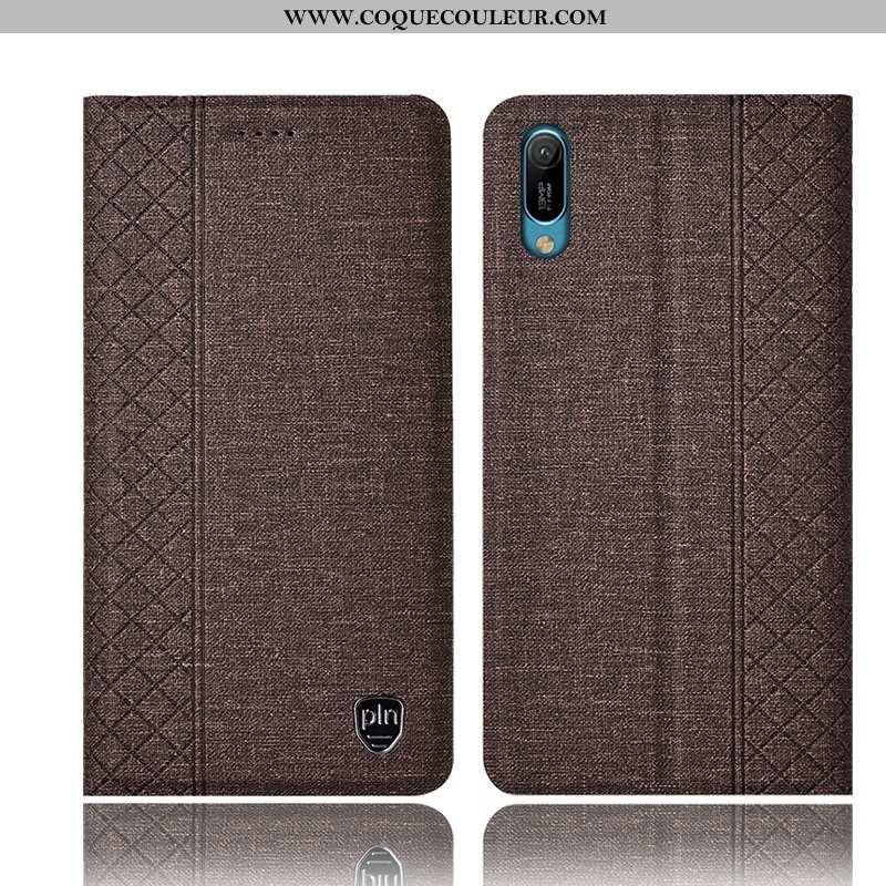 Housse Huawei Y6 2020 Cuir Coque Tout Compris, Étui Huawei Y6 2020 2020 Marron